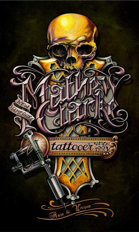 Mathew Clarke - Mathew Clarke Tattoo convention banner design